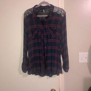Purple & Navy Button Down Sequin Plaid Shirt